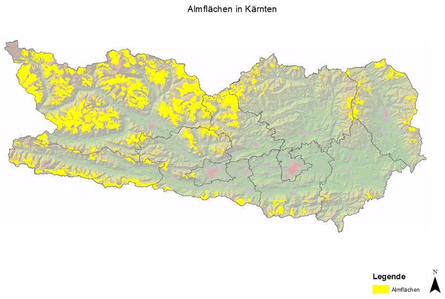 Übersicht Almflächen in Kaernten